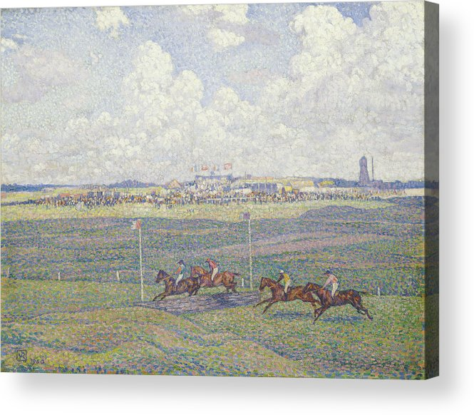 Le Champ De Courses A Boulogne-sur-mer Acrylic Print featuring the painting The Racecourse At Boulogne-sur-mer by Theo van Rysselberghe