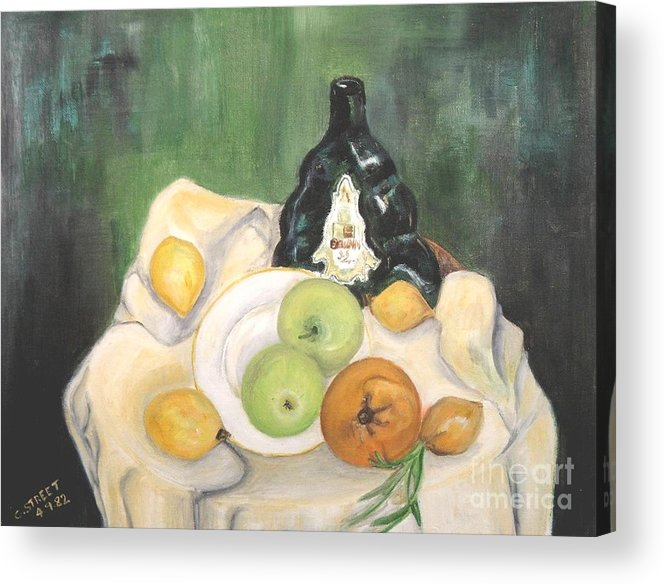 Still Life Acrylic Print featuring the painting Wine And Fruit by Caroline Street