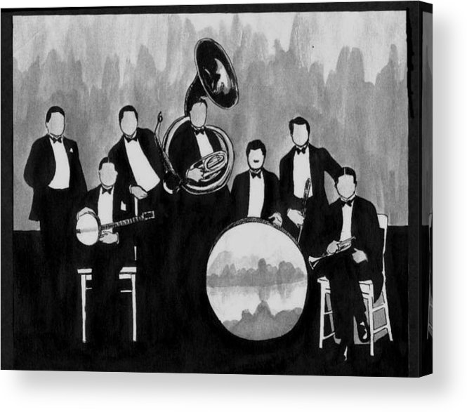 Nostalgia Acrylic Print featuring the drawing Wolverines Black And White by Mel Thompson