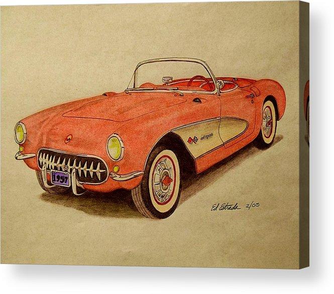 1957 Corvette Acrylic Print featuring the drawing 1957 Corvette by Ed Estrada