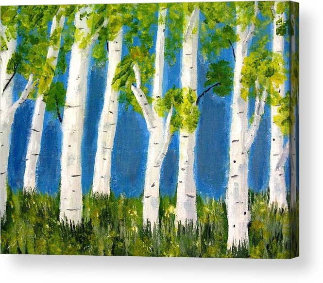 Landscape Acrylic Print featuring the painting Spring Birch by Becky Giovine