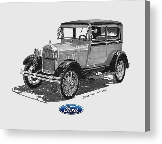 1928 Ford Model A Tee Shirt Art Acrylic Print featuring the painting 1928 Model A Ford 2 Dr Sedan by Jack Pumphrey