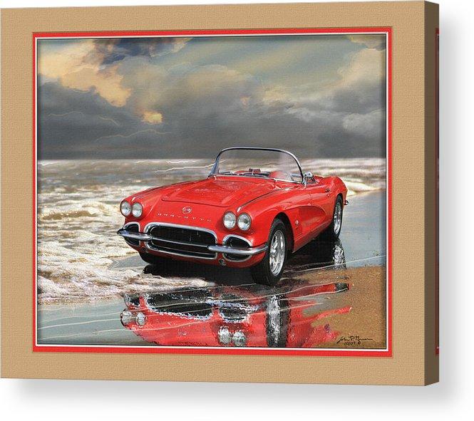 Chevy Vette Corvette Acrylic Print featuring the painting 1962 Corvette by John Breen