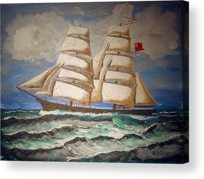 Tall Ship Acrylic Print featuring the painting 2 Master Tall Ship by Richard Le Page