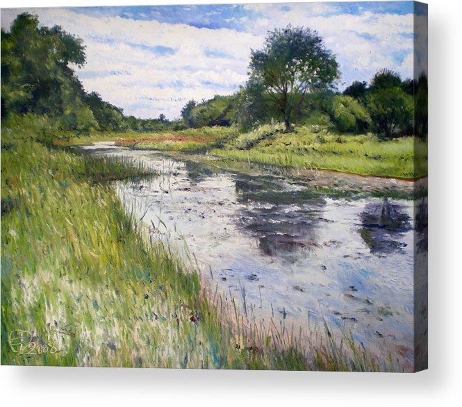 Maun Okavango Delta Acrylic Print featuring the painting Thamalakane River At Maun Botswana 2008 by Enver Larney