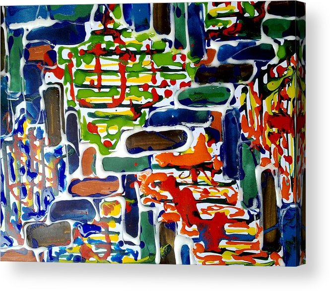Abstract Acrylic Print featuring the painting Jugglery Of Colors by Baljit Chadha