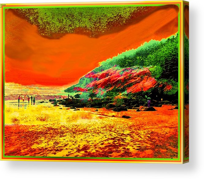 Colorful Landscape Acrylic Print featuring the painting 34g  Beach After A Storm by Ed Immar