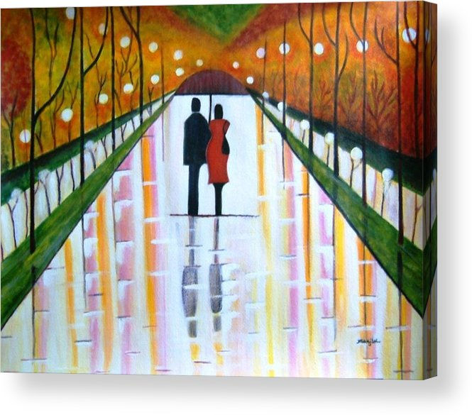 Romantic Painting Figures Romance Umbrella Rain Green Red Orange Grass People Lights Park Garden Tree Reflection Path Valentine Love Acrylic Print featuring the painting A Rainy Dayii by Manjiri Kanvinde