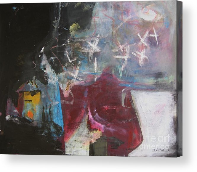 Abstract Paintings Acrylic Print featuring the painting A Short Story by Seon-Jeong Kim