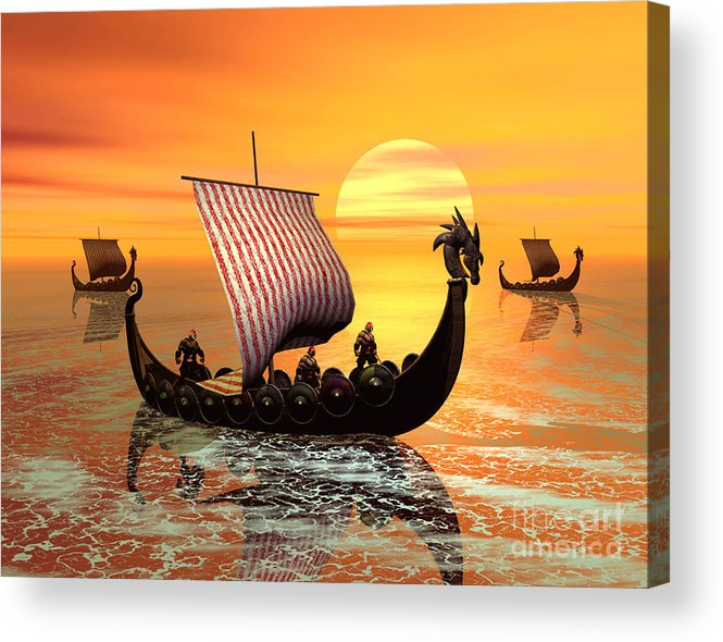 The Vikings Are Coming Acrylic Print featuring the digital art The Vikings Are Coming by John Junek