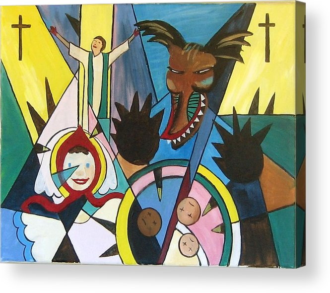 Cubism Acrylic Print featuring the painting Abuse by Art Nomad Sandra Hansen