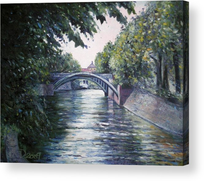 Landscapes Acrylic Print featuring the painting Admiralsbrucke Bridge Kreuzberg-berlin 2009 by Enver Larney