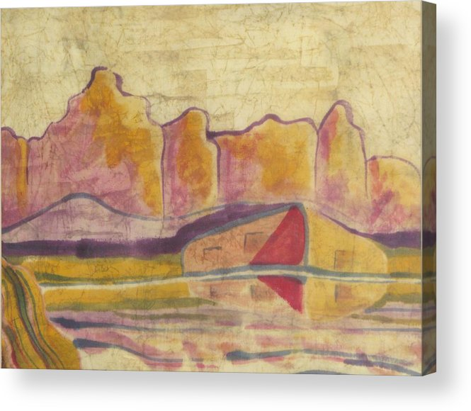 New Mexico Landscape Acrylic Print featuring the painting Adobe Reflections by Kathy Mitchell