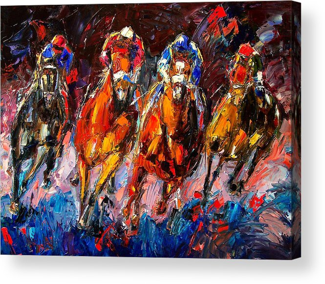 Horse Race Acrylic Print featuring the painting Adrenaline by Debra Hurd