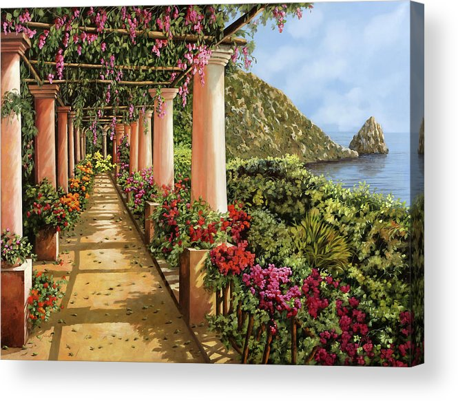 Column Acrylic Print featuring the painting Altre Colonne Sul Golfo by Guido Borelli