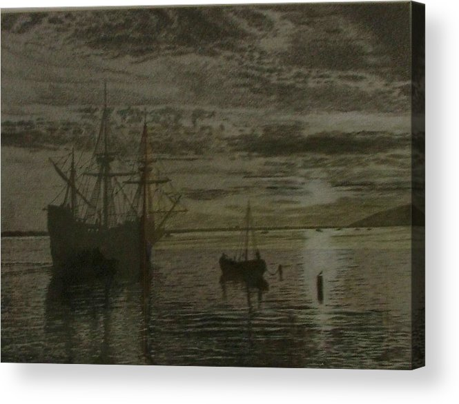 Ship Acrylic Print featuring the drawing At Dock by Dan Hausel
