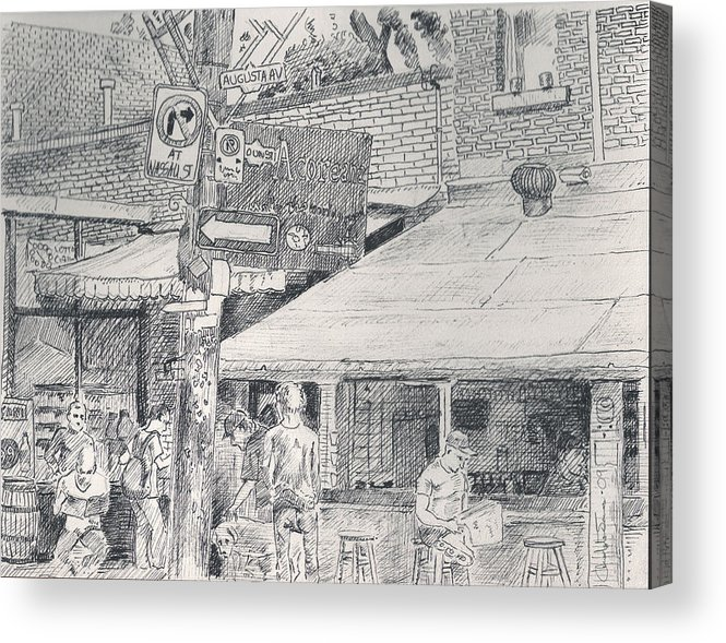 Kensington Market Acrylic Print featuring the drawing Augusta Av by Christopher James