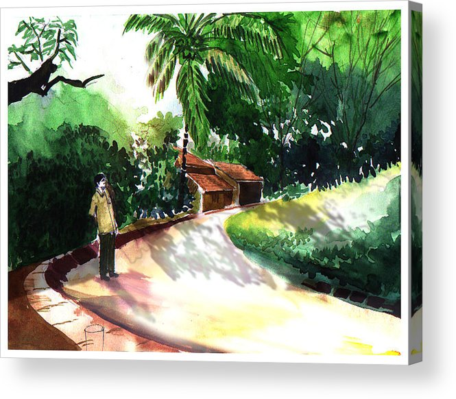 Water Color Watercolor Landscape Greenery Acrylic Print featuring the painting Awe by Anil Nene
