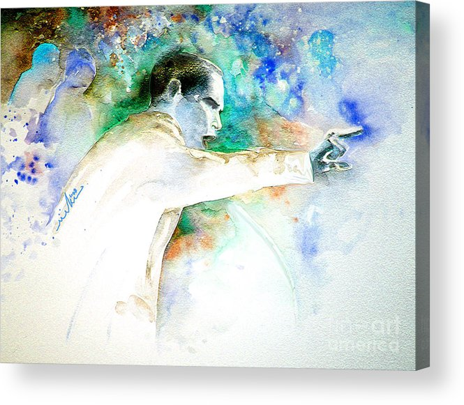 Portrait Barack Obama Acrylic Print featuring the painting Barack Obama Pointing At You by Miki De Goodaboom