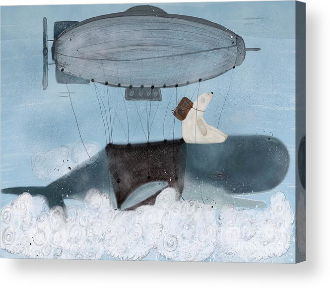 Whales Acrylic Print featuring the painting Barney And The Whale by Bri Buckley