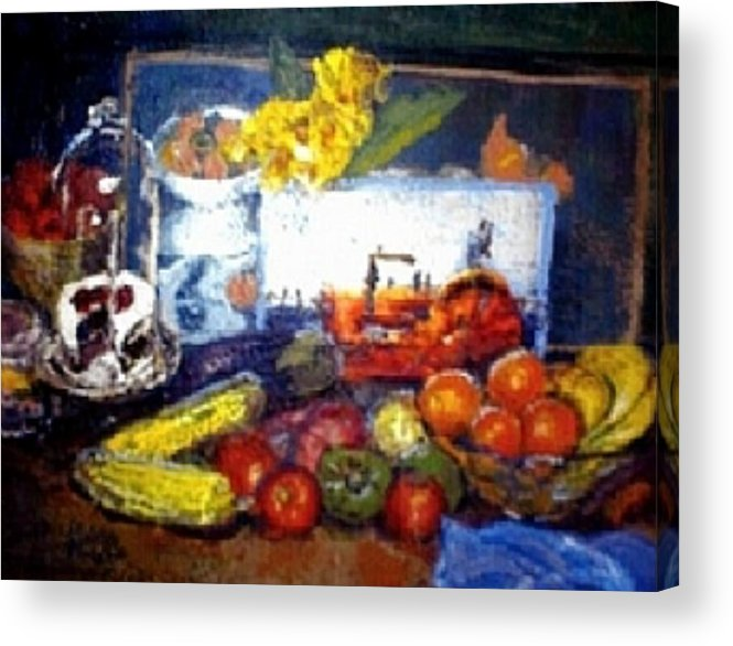Corn Acrylic Print featuring the painting Basics Food by Helen Musser