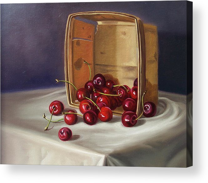 Still Life Acrylic Print featuring the painting Basket Of Cherries by Arnold Hurley