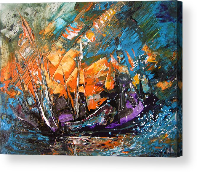 Acrylics Acrylic Print featuring the painting Bataille Navale by Miki De Goodaboom