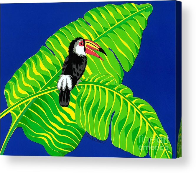 Nature Acrylic Print featuring the drawing Big Billed Bird by Lucyna A M Green