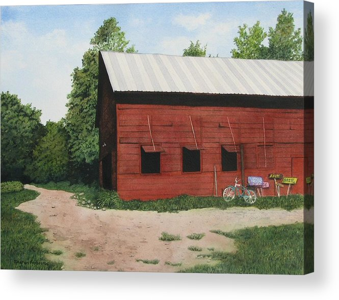 Landscape Acrylic Print featuring the painting Big Red Barn by Sharon Farber