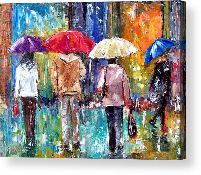 Rain Acrylic Print featuring the painting Big Red Umbrella by Debra Hurd