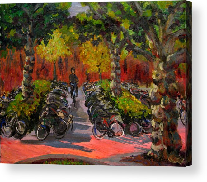 Sweden Acrylic Print featuring the painting Bike Park by Art Nomad Sandra Hansen