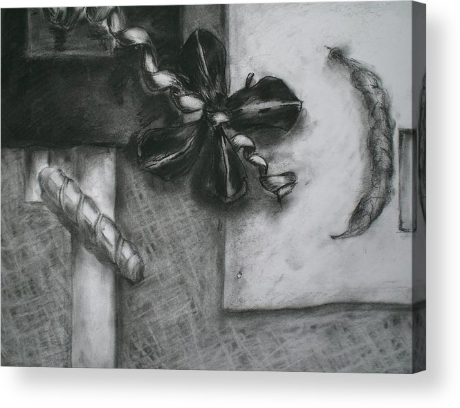 Still Life Acrylic Print featuring the drawing Black And White Composition IIi by Aleksandra Buha
