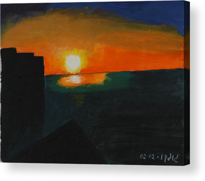 Seascape Acrylic Print featuring the painting Blazing Sunset by Harris Gulko