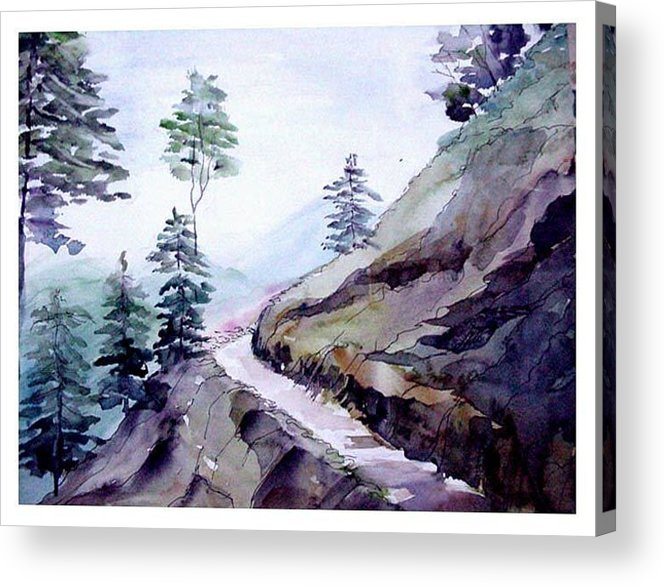 Landscape Acrylic Print featuring the painting Blue Hills by Anil Nene