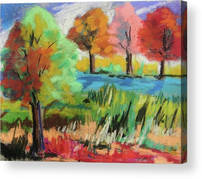 Pastels Acrylic Print featuring the painting Blue Meadow by John Williams