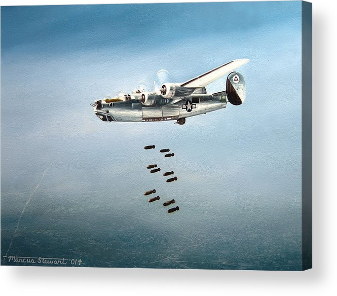 Aviation Acrylic Print featuring the painting Bombs Away by Marc Stewart