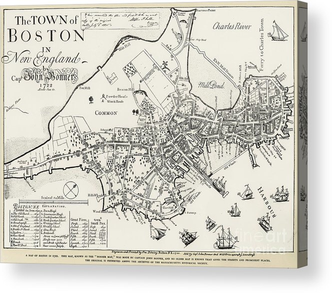 1722 Acrylic Print featuring the photograph Boston Map, 1722 by Granger