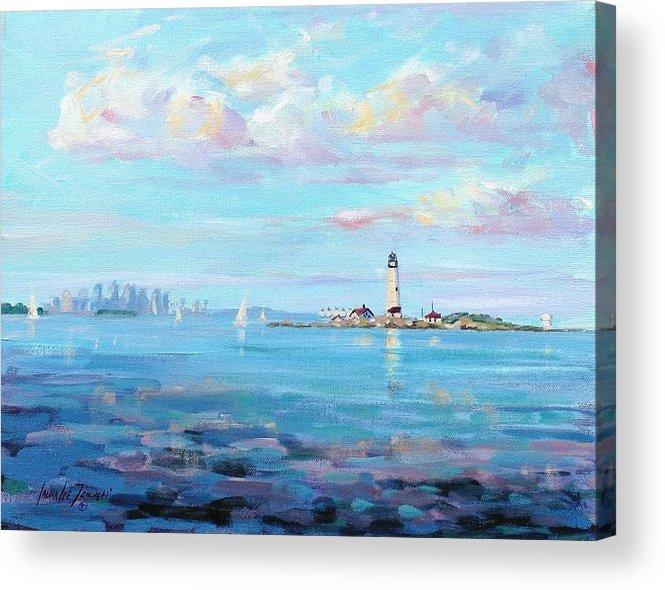 Seascape Acrylic Print featuring the painting Boston Skyline by Laura Lee Zanghetti