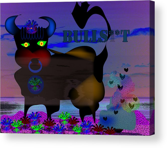 Bull Acrylic Print featuring the digital art Bullshit by George Pasini