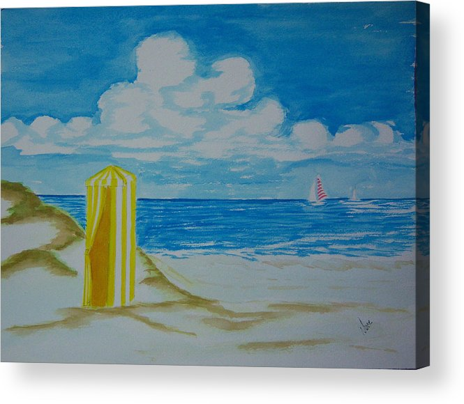Beach Acrylic Print featuring the painting Cabana On The Beach by Nancy Nuce
