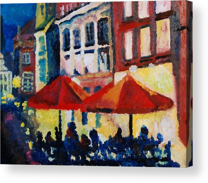 Cafe Acrylic Print featuring the painting Cafe Al Fresca by Lauren Luna