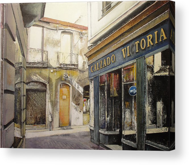 Calzados Acrylic Print featuring the painting Calzados Victoria-leon by Tomas Castano