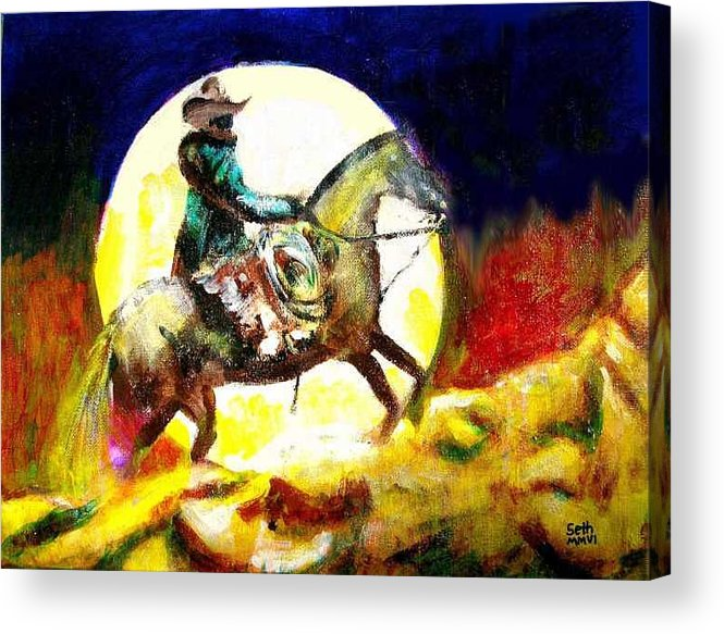 Canyon Moon Acrylic Print featuring the painting Canyon Moon by Seth Weaver