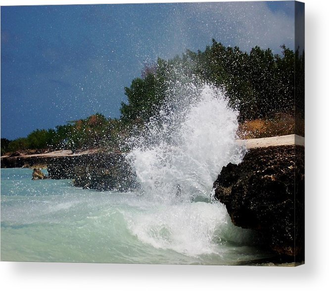 Ocean Acrylic Print featuring the photograph Caribe Splash by James Harper