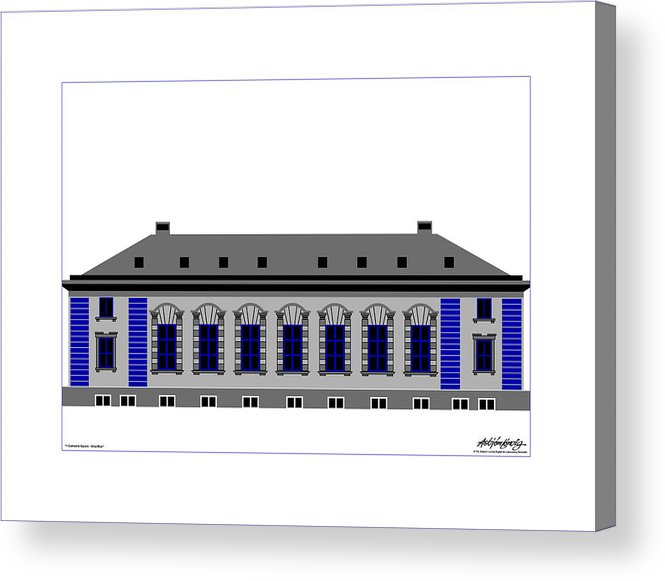 Acrylic Print featuring the painting Cathedral Square Grey Passepartout by Asbjorn Lonvig
