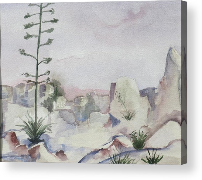 Landscape Acrylic Print featuring the painting Century Plant by Kathy Mitchell