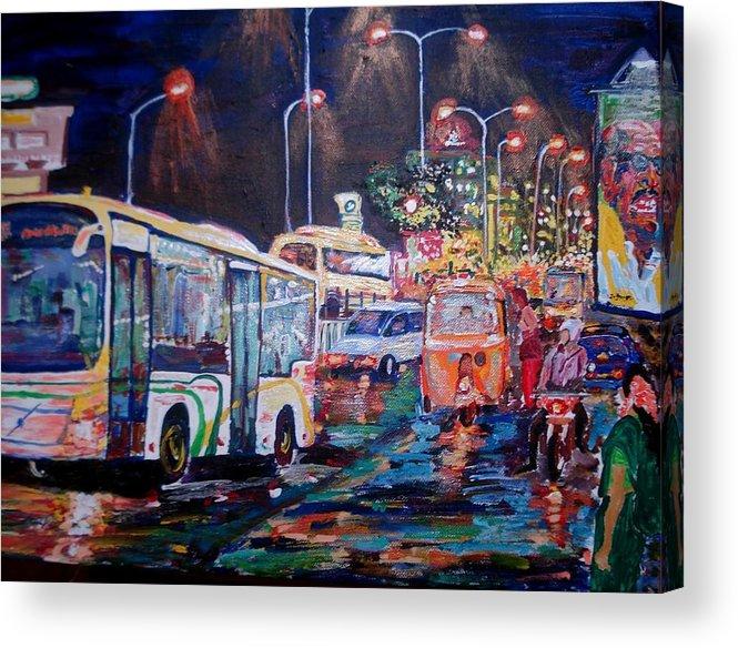 Chennai Acrylic Print featuring the painting Chennai Traffic by Narayan Iyer