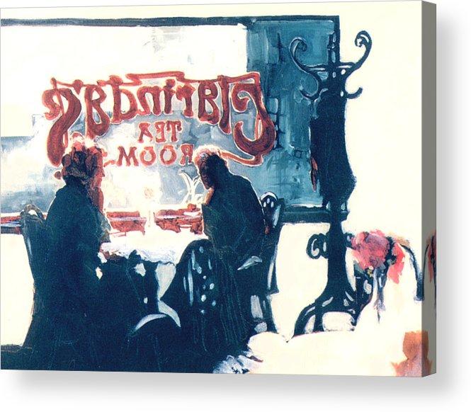 Tea Acrylic Print featuring the painting Clarinda's Tea Room by Linda Crockett