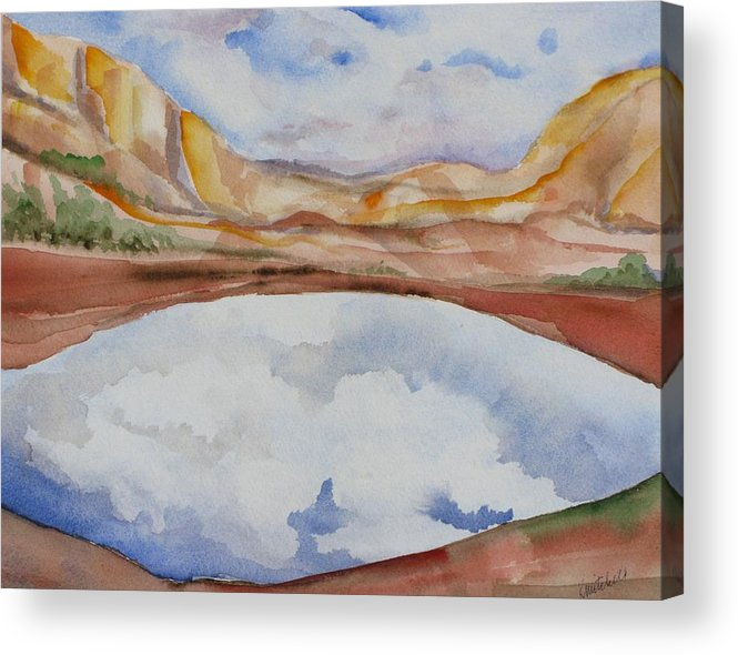 Landscape Acrylic Print featuring the painting Cloudy Reflections by Kathy Mitchell