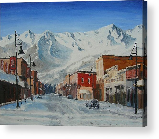 Cityscape Acrylic Print featuring the painting Cold Montain by Janos Szatmari